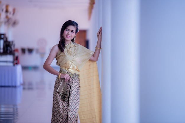 Beautiful asian with welcome expression. beauty fantasy thai woman.