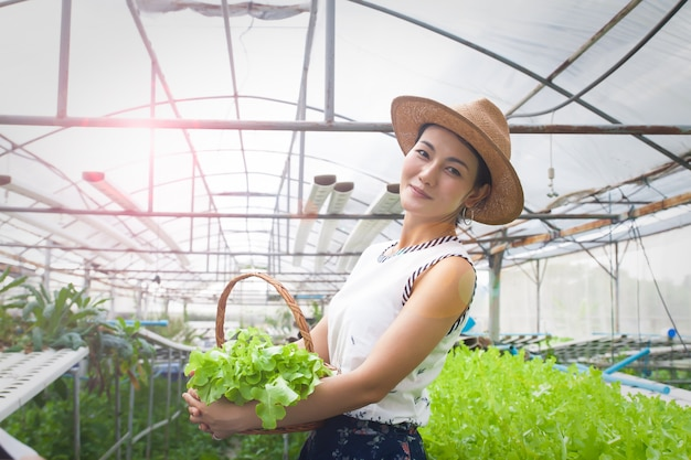 Beautiful asian woman holding vegetables basket standing on hydroponics farm