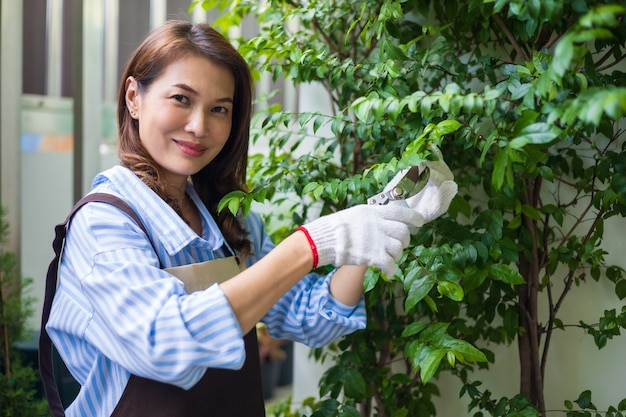 Красивая азиатская женщина-домохозяйка в фартуке, держа ножницы для обрезки, режут маленькие листья дерева за пределами дома с счастливой улыбкой и глядя в камеру. расслабьтесь и концепция хобби.