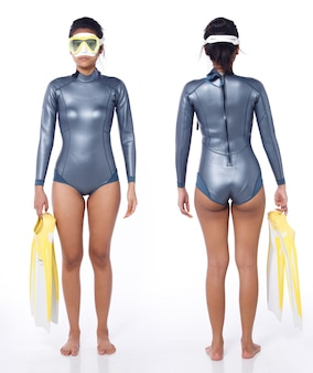Beautiful asian woman wear diving wet suit with snorkel and snorkeling fins. scuba free dive female stand and turn front back rear view over white background isolated full length body