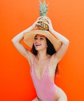 Beautiful asian young woman with bikini.