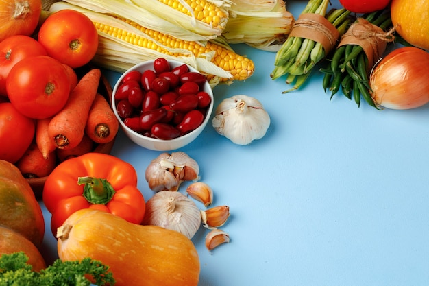 Beautiful assortment of colorful vegetables