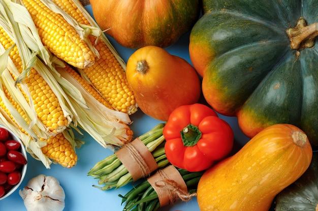Красивый ассортимент красочных овощей на синем фоне