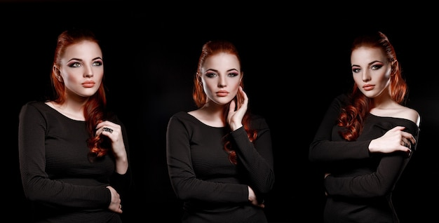 Beautiful attractive girl with red hair on a black background. business woman with beautiful makeup. confident successful woman