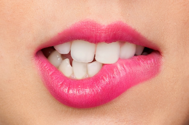 Beautiful attractive make up mouth and sensual lips