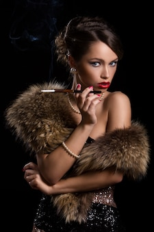 Beautiful, attractive woman wearing fur