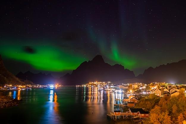 Beautiful aurora boreal in lofoten islands
