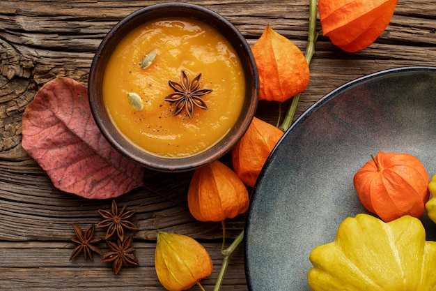 Beautiful autumn arrangement pumpkin soup