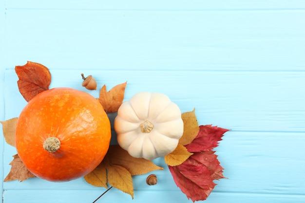 テキストの上面図の場所と落ち葉の美しい秋の背景