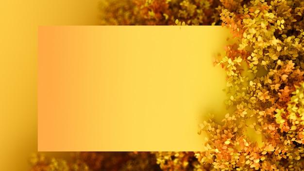 葉とフレームの美しい秋の背景。 3dレンダリング。