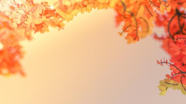 葉と空白の美しい秋の背景。 3dレンダリング。