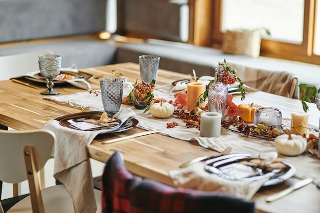 Beautiful autumn decoration on the table