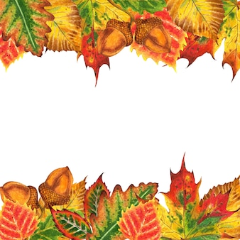 Beautiful autumn frame made of leaves leaves of oak maple birch elm and acorns autumn illustration