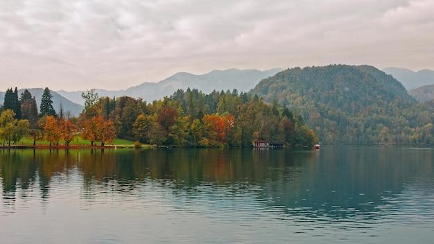 Beautiful autumn landscape around lake bled with pilgrimage chur