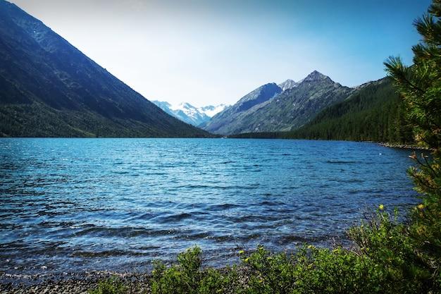 Beautiful autumn landscape, mountain lake, russia, siberia altai mountains