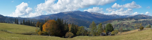 Beautiful autumn morning near carpathian village outskirts (carpathian mountain, ukraine). eight shots stitch image.