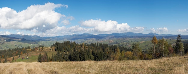 Beautiful autumn morning near carpathian village outskirts (carpathian mountain, ukraine). five shots stitch image.