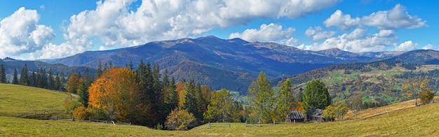 Beautiful autumn morning near carpathian village outskirts (carpathian mountain, ukraine)
