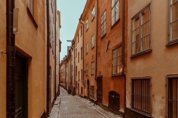 Beautiful autumn street of stockholm