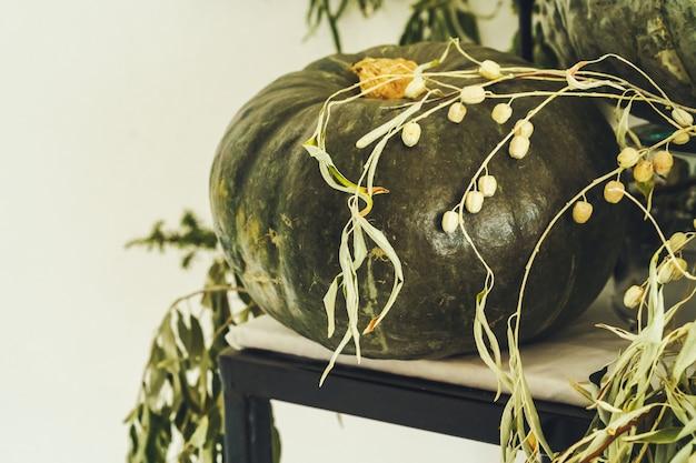 緑のカボチャと美しい秋のテーブルの装飾