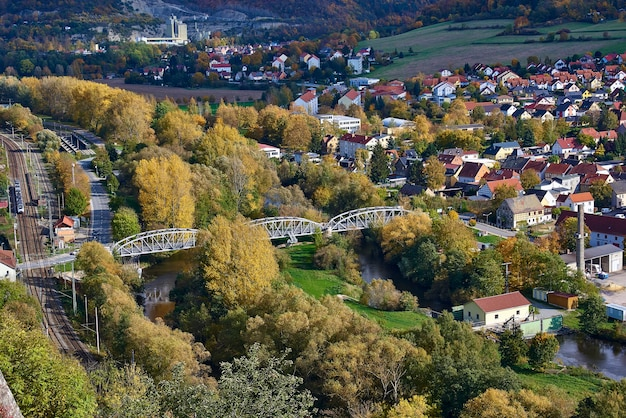 Beautiful autumn view of a small town from a bird's eye view