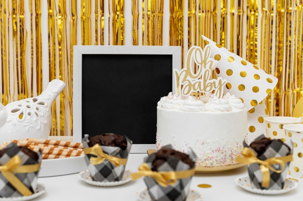 Beautiful baby shower concept with copy space