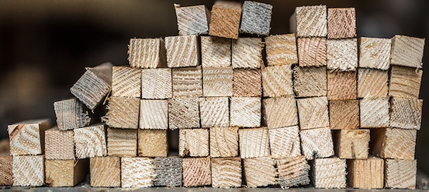 Beautiful background with folded strips of wood, close-up