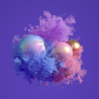 与紫色烟和蒸汽的美好的背景。3d例证,3d翻译。