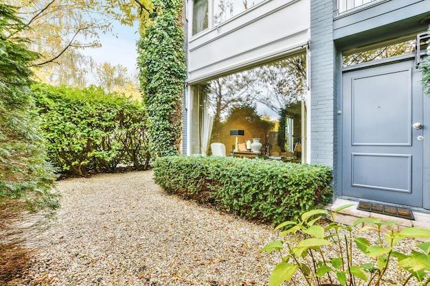 Красивая терраса на заднем дворе с мебелью и декоративными растениями