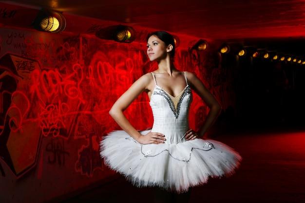 Beautiful ballerina dancing ballet dance