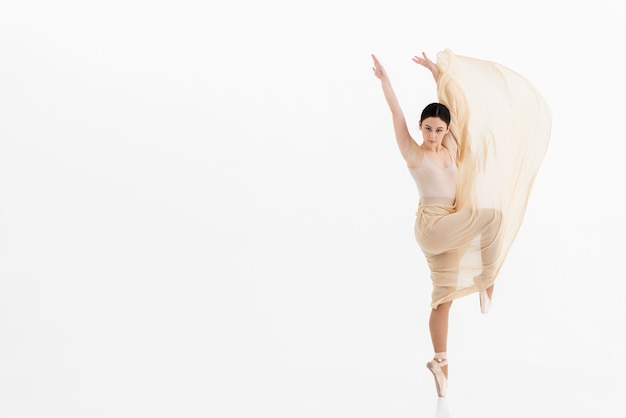 Beautiful ballerina dancing with grace