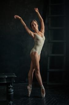 The beautiful ballerina posing