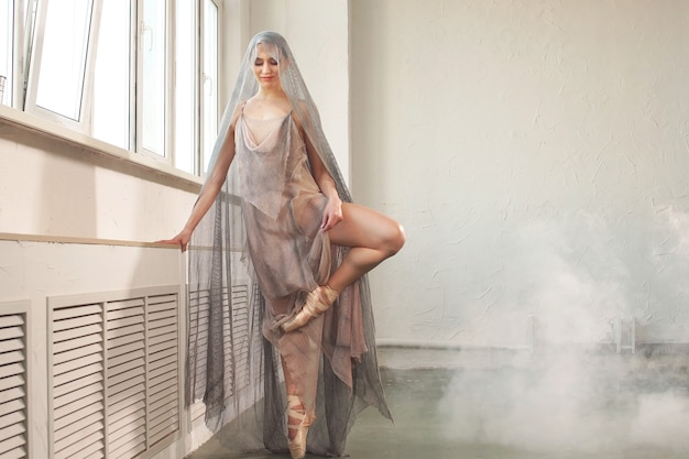 Beautiful ballerina with a perfect body dressed in a stylish stage long transparent robe and a gray veil on her head, dancing against the background of smoke in the studio