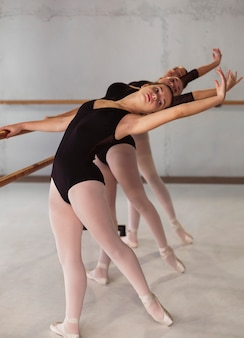 Beautiful ballerinas rehearsing while wearing leotards