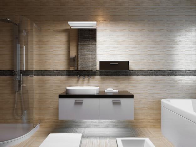 아름다운 욕실 인테리어, 저녁 빛. 거울이있는 싱크 콘솔의 전면 모습. 3d 렌더링