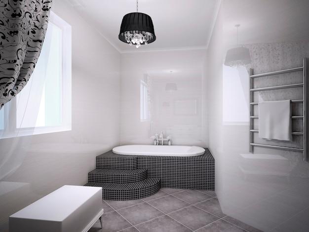 아르 데코 스타일의 자쿠지가있는 아름다운 욕실. 밝은 복숭아 색 벽. 3d 렌더링