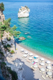 Beautiful beach in the reserve gargano above view