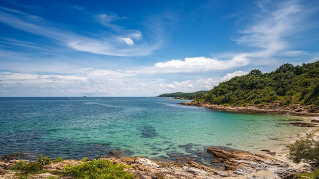 Beautiful beach on the tropical sea in bright blue sky at summer day