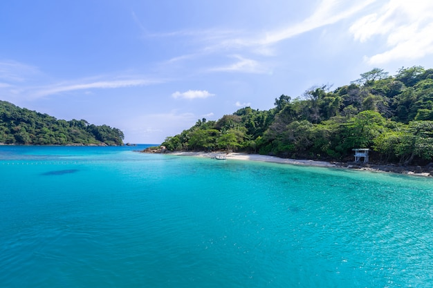 Beautiful beach view koh chang island seascape at trad province eastern of thailand on blue sky background