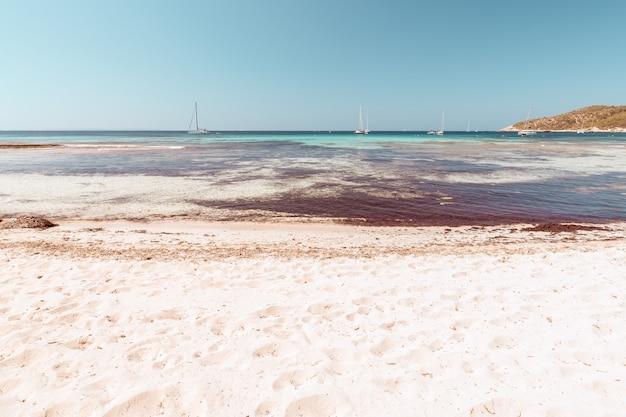 Прекрасный вид на пляж плайя-де-сес-салинес на ибице, испания
