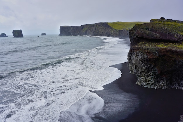 Beautiful beach with blak sand and wild waves close to reynisdrangar, in the south of iceland