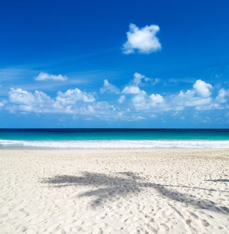 Beautiful beach with white sand. tropical sea with cloudy blue sky . amazing beach landscape
