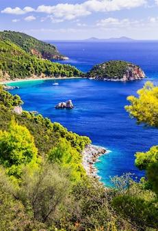 Skopelos 섬의 아름다운 해변과 자연. 스타 필로스 베이. 그리스의 북부 스포 라 데스