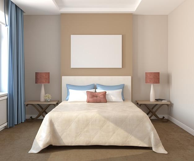 Красивый интерьер спальни. 3d визуализация.