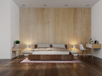 Beautiful Bedroom Interior modern with wooden wall background