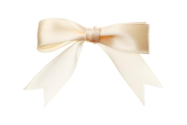 아름 다운 베이지색 활 흰색 배경에 고립입니다. 단열재.