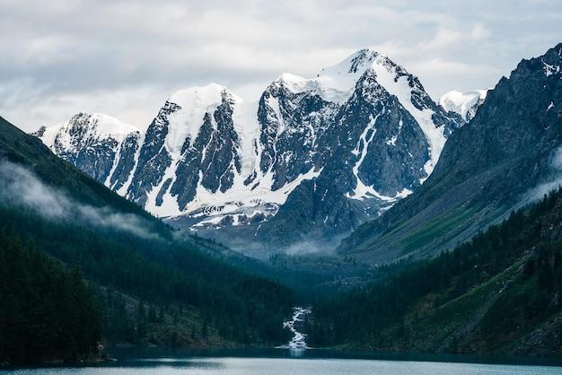 Красивый большой ледник, скалистые снежные горы, хвойный лес на холмах,