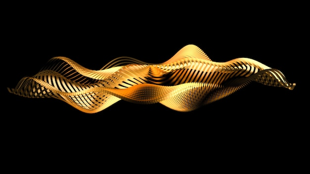 Beautiful black background with golden glitter. 3d illustration