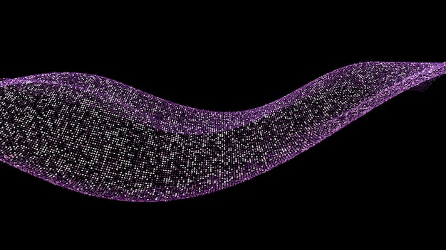 Beautiful black background with a purple glitter. 3d illustration, 3d rendering.