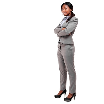 Beautiful black businesswoman with empty space